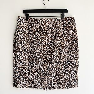 J Crew The Pencil Skirt Leopard Print Size 14